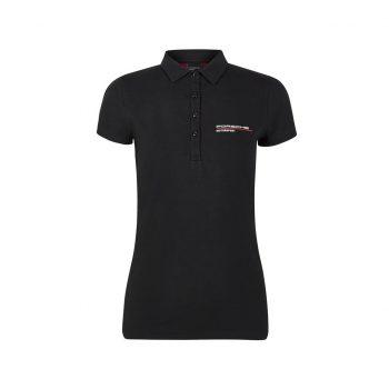 304491018100215_PORSCHE FW WOMENS POLO BLACK_svart_westcoast_motorsport_front