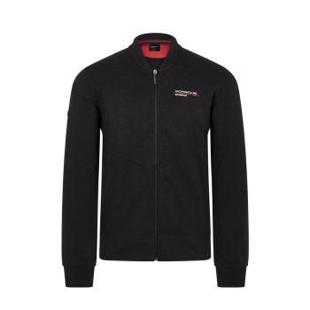 304491026100220_PORSCHE FW MENS ZIP SWEAT BLACK_svart_westcoast_motorsport_front